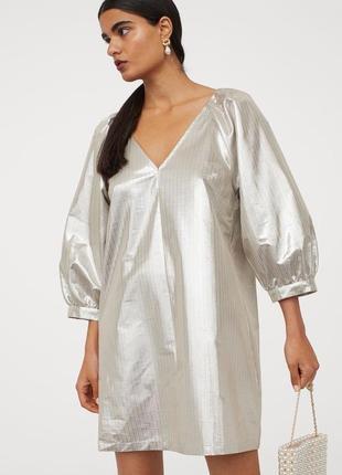 Эффектное мерцающее платье с рукавами-фонариками h&m