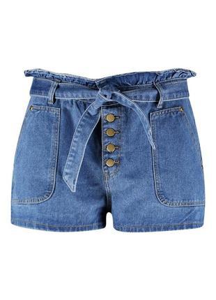 Джинсовые шорты с завязками на талии boohoo