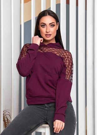 Реглан худи блуза кофта свитшот лонгслив с соблазнительной сеткой и капюшоном