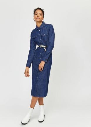 Стильное джинсовое платье на застежке,миди,кэжуал,