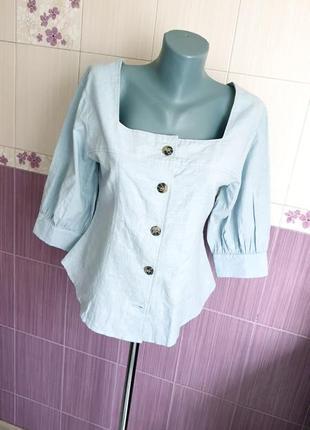 Хлопковая сексуальная голубая эко рубашка с баской блуза красивый фасон