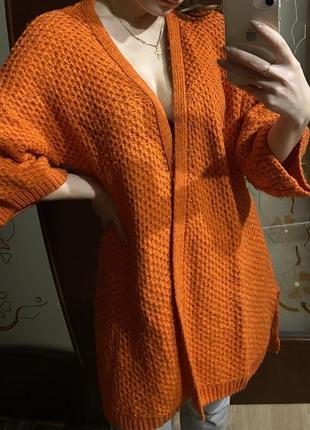 Женский кардиган ярко оранжевый 🧡 весенний кардиган