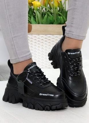 Шикарные женские кожаные чёрные кроссовки кросівки