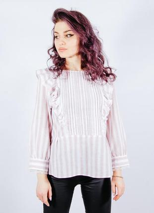 Женская рубашка белая с рюшиками, жіноча біло-рожева сорочка