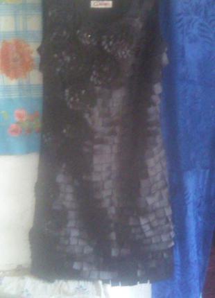 Милае черное платье с цветочками