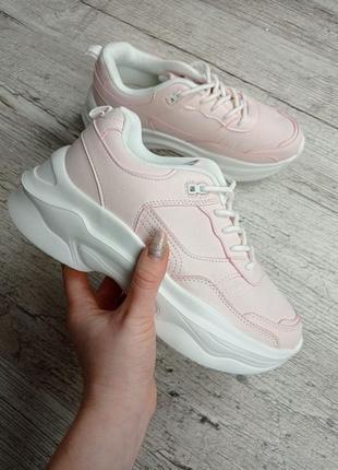Кроссовки деми, светло-розовые