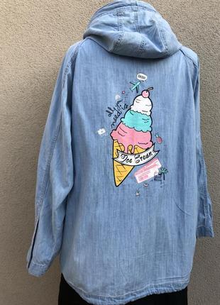 Лёгкая,джинсовая ветровка реглан,куртка,парка,дождевик,принт по спине