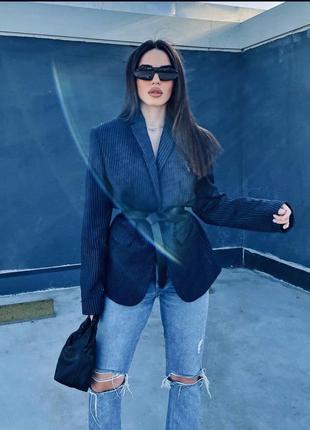 Amisu пиджак в полоску (маленький размер) на модели для примера 👌 amisu