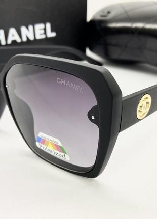 Chanel очки женские солнцезащитные черная матовая геометрия с поляризацией