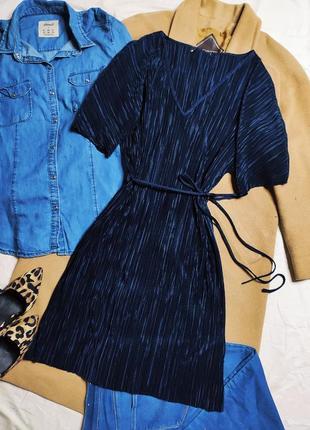 Atmosphere платье темное синее плиссе плиссерованное с поясом оверсайз