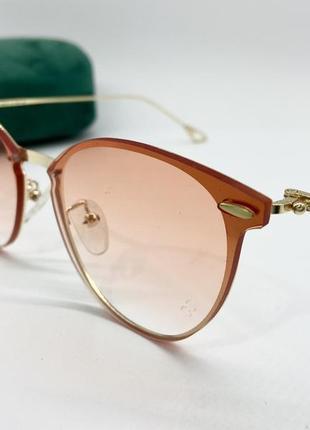 Dior очки женские солнцезащитные прозрачные персиковые кругляшки