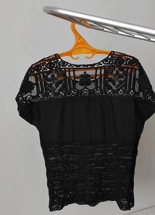 Трендовая кружевная футболка чорна блуза/ажурная кофта / блузка з мереживом.