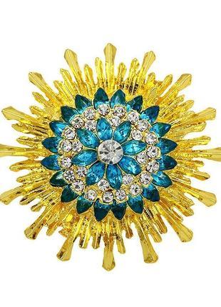 Брошь с желтыми и голубыми кристаллами