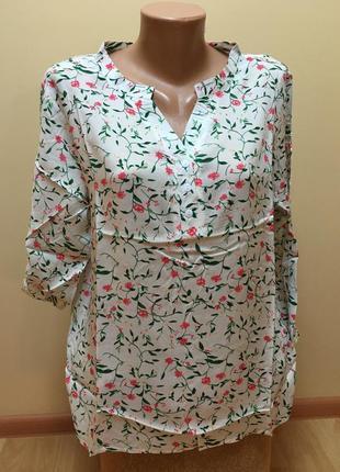 Штапельна блузочка з квітковим принтом ❤️❤️❤️