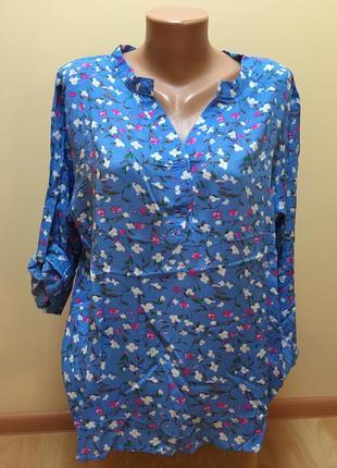 Стильна блакитна блузочка в квіти🌸🌸🌸