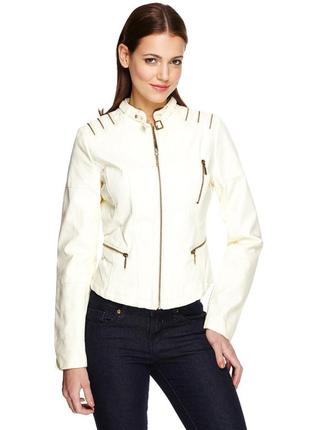 Куртка короткая мото кожзам молочного белого цвета размер l из сша