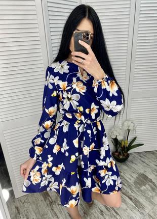 Платье с рюшей, с поясом, цветочное платье