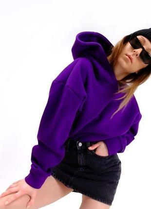 Худи оверсайз, фиолетовый, на флисе и без флиса, с капюшоном, премиум качество!