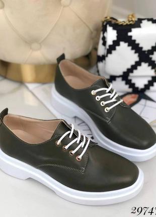 Туфли на шнурках nina❤️mi хаки натуральная кожа