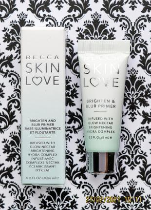 Сглаживающий и осветляющий праймер becca skin love brighten & blur primer база 6 мл