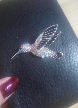 Красивая брошка колибри  bobijou с кристаллами swarovski.