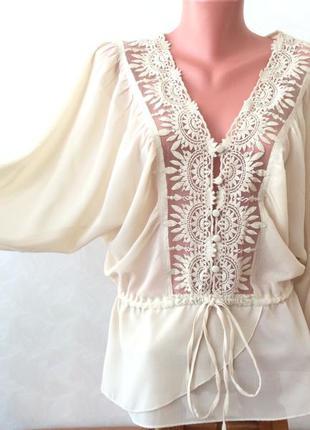 Фактурный гипюр. очень красивая летняя блуза. размер xs-m