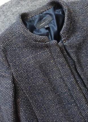 Драповое пальто-футляр mango, шерстяное пальто тюльпан, размер s