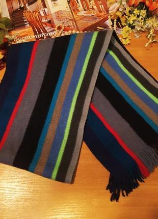 Модний шарф з яскравими полосами дизайнер paul smith (германія) 100% new pure wool (вовна)