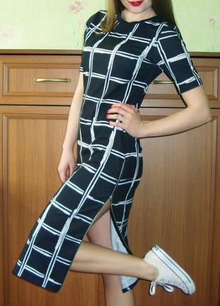 Сексуальное платье миди с разрезами по бокам топшоп