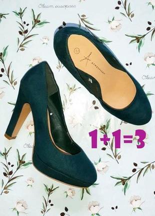 🎁1+1=3 шикарные изумрудные замшевые туфли на широком каблуке atmosphere, размер 36