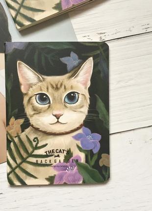 Блокнот записная книжка кот цветы