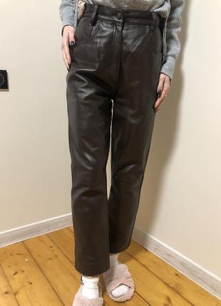 Штаны брюки натуральная кожа высокая посадка шоколад с карманами