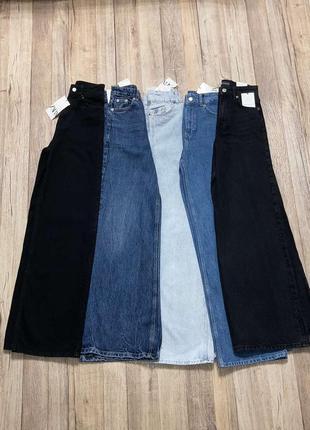 Новые широкие джинсы с высокой посадкой zara размер 32, 34 разные цвет