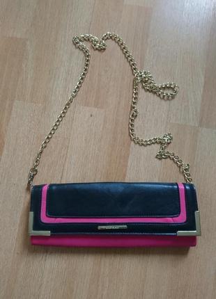 Черно-розовая сумка -клатч 30*12см ручка цепочка 122см съёмная