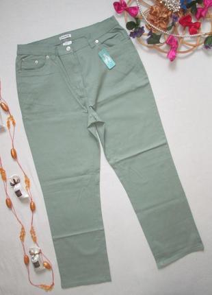 Суперовые джинсы чинос мятно-оливкового цвета высокая посадка damart.