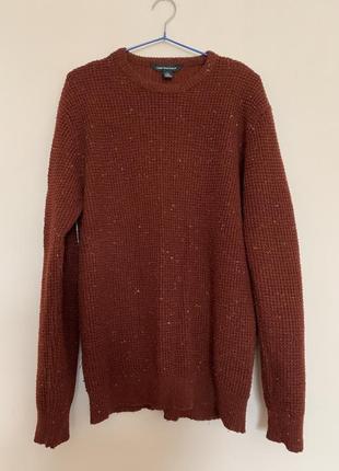 Терракотовый свитер в белую точечку