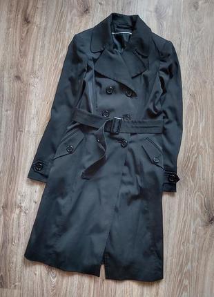 Тренч чёрный пальто черное квадратный поясок