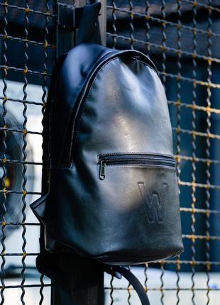 Черный рюкзак для города из гладкой эко-кожи without