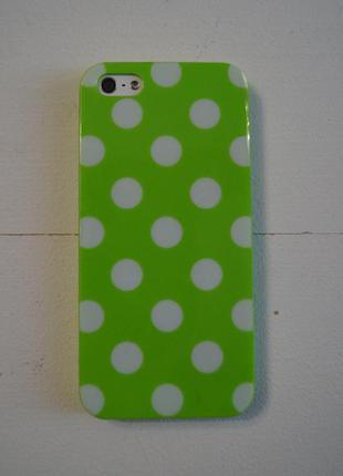 Чехол силиконовый с горошками для iphone 5, 5s, se