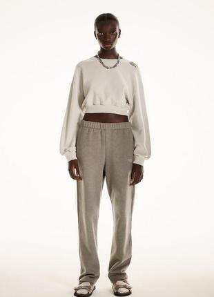 Флисовый костюм zara зара  свитшот штаны флис теплый прогулочный р. с оверсайз большемерит