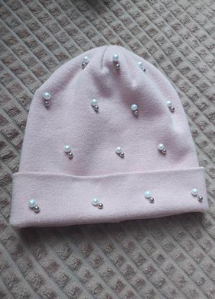 Шапка розовая, шапочка деми пудра пудровая с бусинами, обмен
