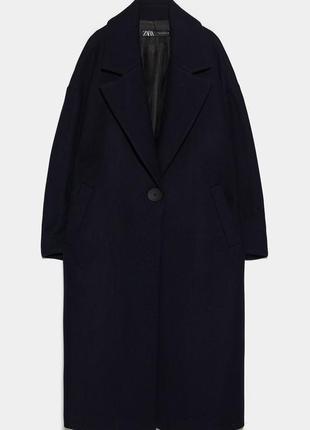 Стильное пальто zara оверсайз из смесовой шерстяной ткани