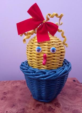 Сувенир яйцо плетеное