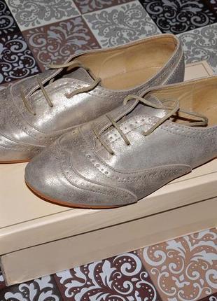 🌟золотистые летние туфли броги оксфорды тм 'fiore' р-р 38-39, 6 uk, 25,2 см