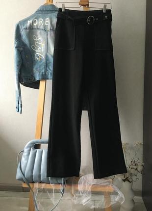 Стильні широкі штани з поясом висока посадка