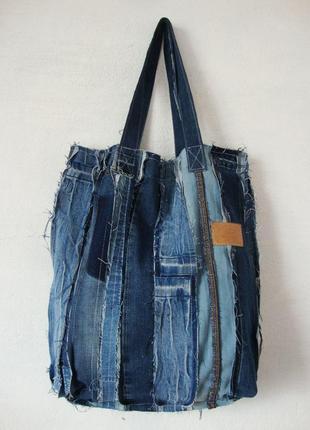 Джинсовая сумка вместительная текстильная пляжная плюс косметичка