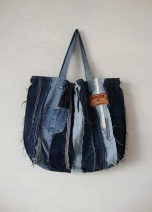 Большая джинсовая сумка торба плюс косметичка набор пляжные сумки