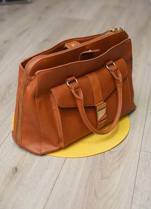 Большая рыжая стильная оригинальная сумка