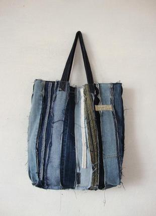 Рваная джинсовая сумка-торба пляжная плюс косметичка