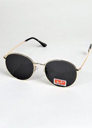 Очки солнцезащитные r b 3447 черные с золотом круглые тишейды.